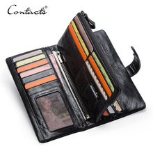 CONTACTS Genuine Leather Mens Long Wallet With Phone Bag Zipper Coin Pocket Purse Male Clutch Wallets For Men Portfel Small