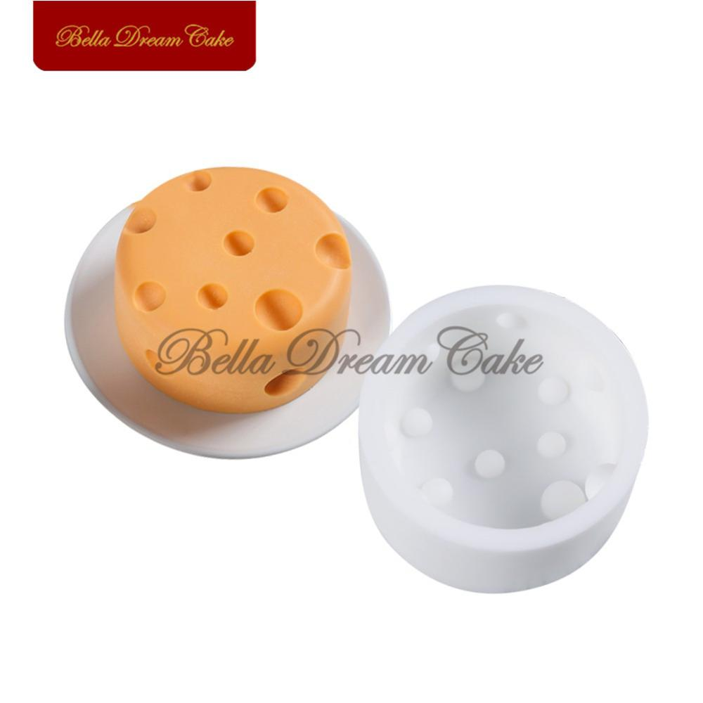 <font><b>Round</b></font> Shape <font><b>Cheese</b></font> Silicone <font><b>Mold</b></font> Cupcake Candy Chocolate Gumpaste Mould Fondant <font><b>Molds</b></font> Party Cake Decorating Tool Bakeware image