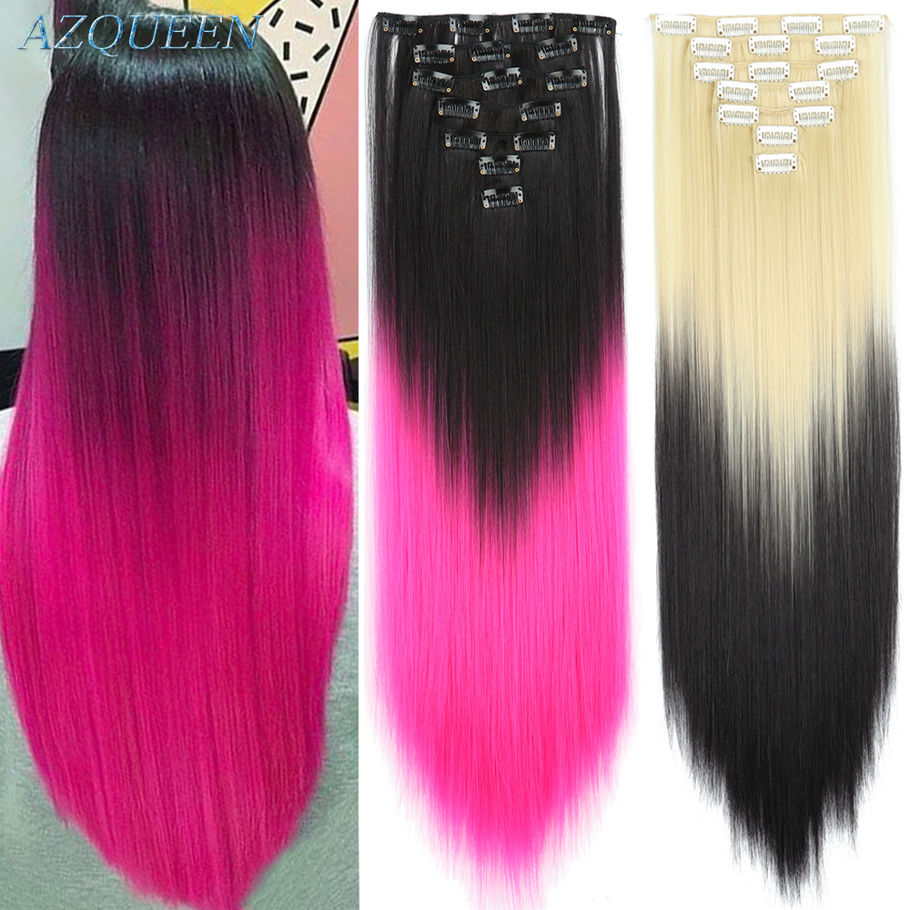 AZQUEEN 16 Clip In 7 Piece  Synthetic Long Straight Hairpieces Artificial Hair Extensions Silky Thick Full Head