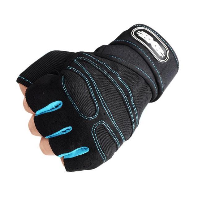 1 par prático esportes fitness antiderrapante respirável metade dedo luvas de esportes ao ar livre anti-suor ciclismo luva 4