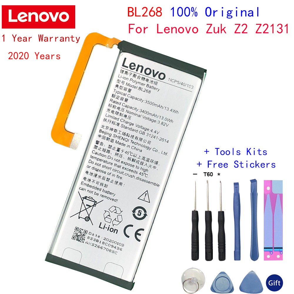 100% New Original Real 3500mAh BL268 Battery with glue sticker For Lenovo ZUK Z2 Z213 with tools Gifts image