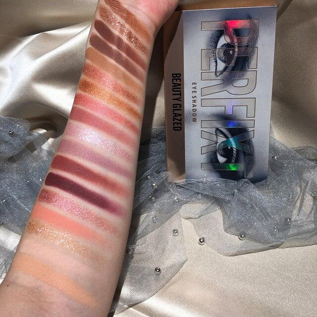 BEAUTY GLAZED Makeup 18 Color Nude Eyeshadow Pallete Waterproof Eyeshadow Palette Make up Brush Eye shadow Palette Cosmetics