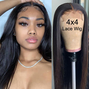Amanda Straigth Lace Closure Wigs Human Hair 150% Density Natural Color 8-26 Inches 4x4 Malaysian Hair Wigs Preplucked Hairline