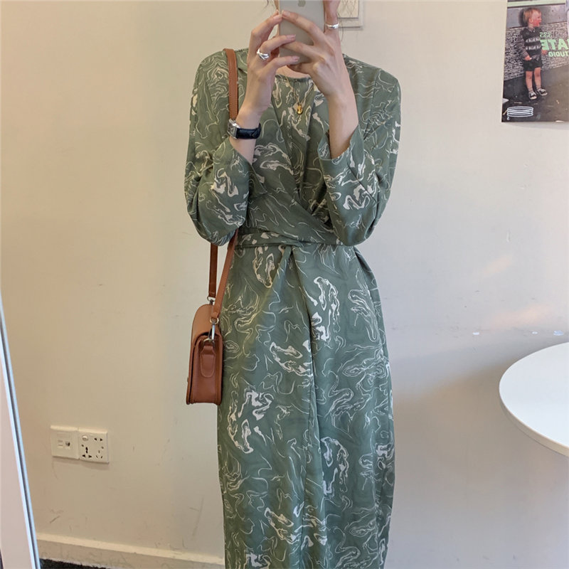 Alien Kitty Stylish Green French Inkjet Lace-Up Dress New Women Loose 2020 Vintage Straight Hot Elegant All-Match Brief Dress