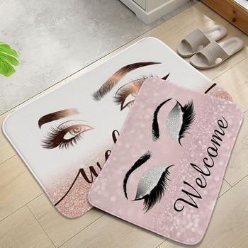 Anti-slip Absorb water Bath mat  Cartoon eyelash Bathroom kitchen bedroon floor mat Entrance Rugs kids prayer mat 40*60cm 0050 1