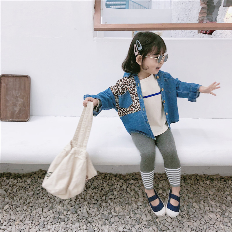 2019 Spring New Style Childrenswear Girls Korean-style Leopord Pattern Joint Denim Shirt BABY'S Top