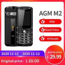 """(רב שפות) AGM M2 2.4 """"מוקשח טלפון Dual SIM אחורי 0.3MP חיצוני בהשתתפות טלפון IP68 עמיד למים עמיד הלם פנס"""