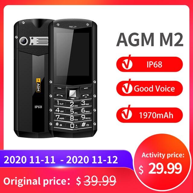 """(다중 언어) AGM M2 2.4 """"견고한 전화 듀얼 SIM 후면 0.3MP 야외 기능 전화 IP68 방수 Shockproof 손전등"""