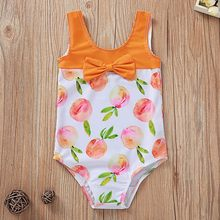Summer Baby Beach Kids Girls Bow Peach Printed Bikini One Piece Swimwear Swimsuit Biquini Infantil Menina #ew(China)