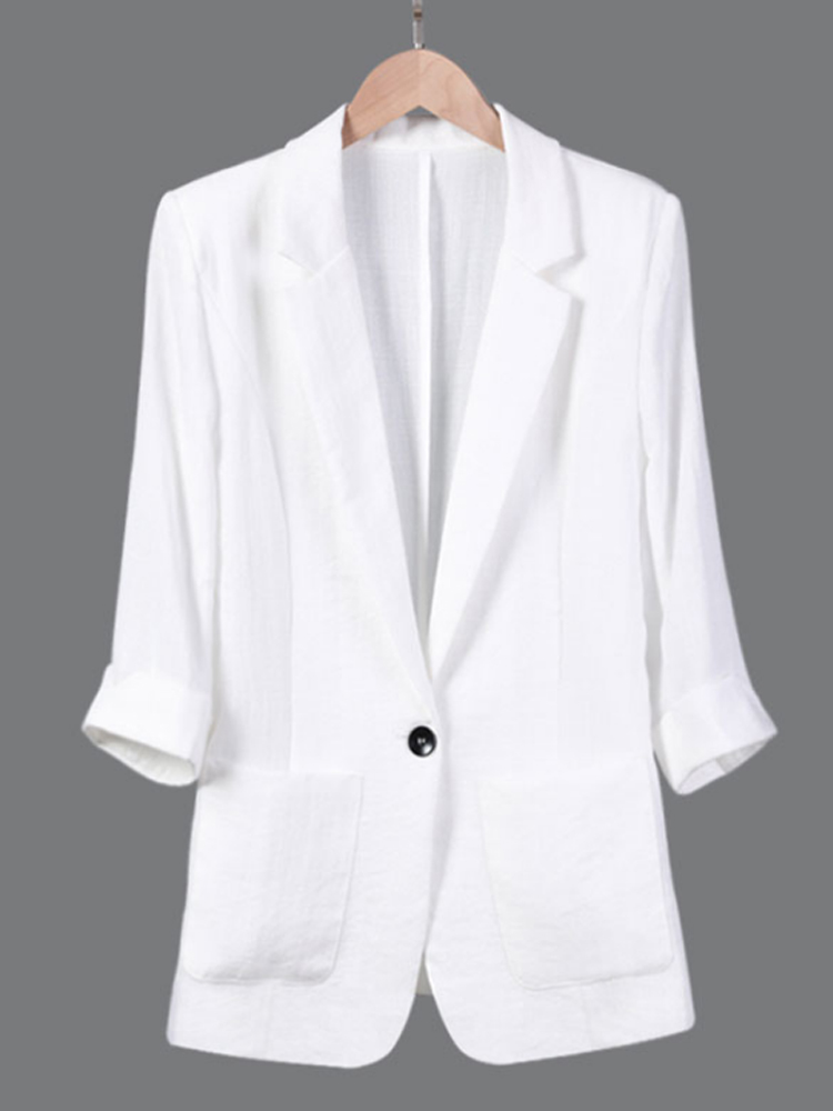 New Plus Size 7XL 6XL 5XL  Women Blazer Solid Pockets Single Button Notched Three Quarter Linen Business Suits For Office Ladies