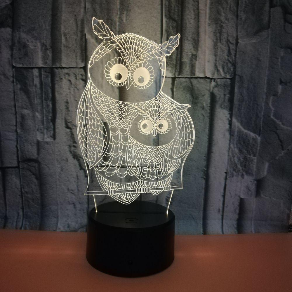 7 Color Changing Usb 3D Led Modelling Animal Owl Table Lamp Bedroom Atmospheres Night Light Bedside Decor Baby Sleep Lightings image