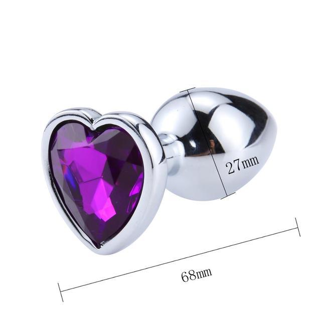 Plug anal diamond metal heart purple