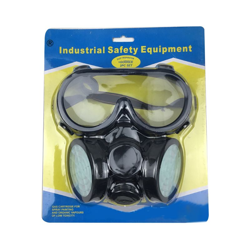 Dual Pot Industrial Gas Mask Respirator Anti Dust Filtter Goggles Spray Chemical|Masks| |  - title=
