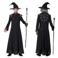 New Halloween Costumes for Men Adult Wizard Prophet Witch Demon Cosplay Disfraz Carnival Party Performance Long Gown