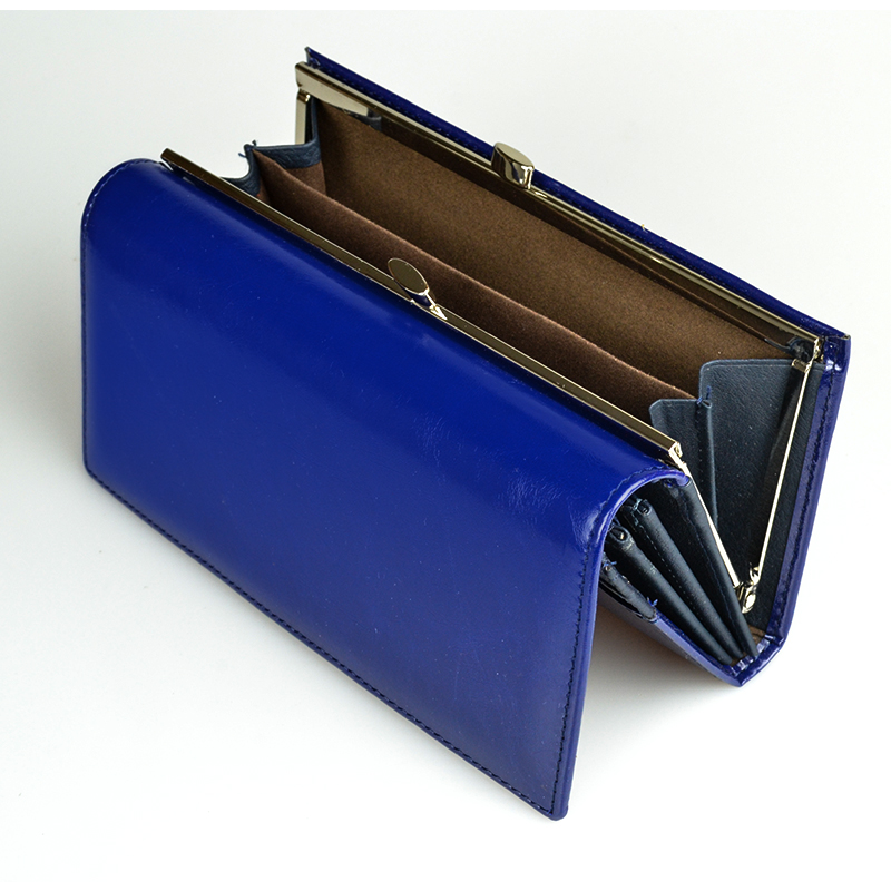 Women's Wallet High Quality Oil-Wax Genuine Leather Wallet Women Long Ladies Coin Purse Card Holder Femme Blue Purse