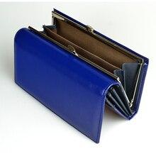 Kadın cüzdan yüksek kaliteli yağ balmumu hakiki deri cüzdan kadın uzun bayanlar bozuk para cüzdanı kart tutucu Femme mavi çanta