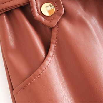 New fashion trend of autumn women's wear in 2019 small pleated imitation leather mini-step cake skirt 5