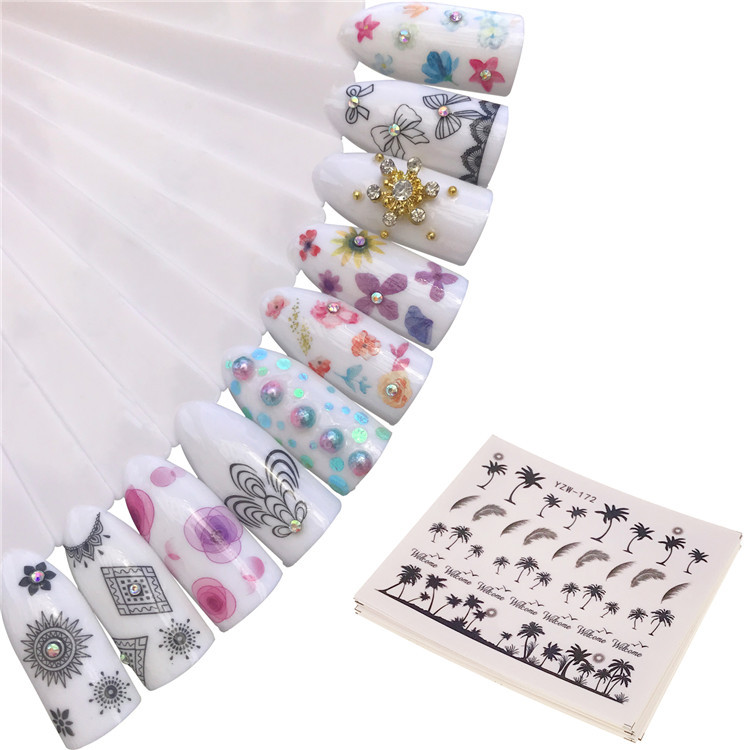 Nail Sticker Japan South Korea Watermark Nail Sticker Watercolor Small Broken Flower Ink Rose Daisy Petal Set