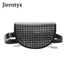 JIEROTYX Fashion Rivets Belt Bag PU Leather Crossbody Bags Women Chain Shoulder Messenger Waist Pack Lady Phone Purse