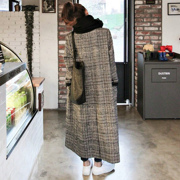 Winter Autumn Elegant Women Korean Office Lady Long Plaid Coat Loose Oversized Warm Wool Blends Overcoat Casual OL Trench Coat in Wool amp Blends from Women 39 s Clothing