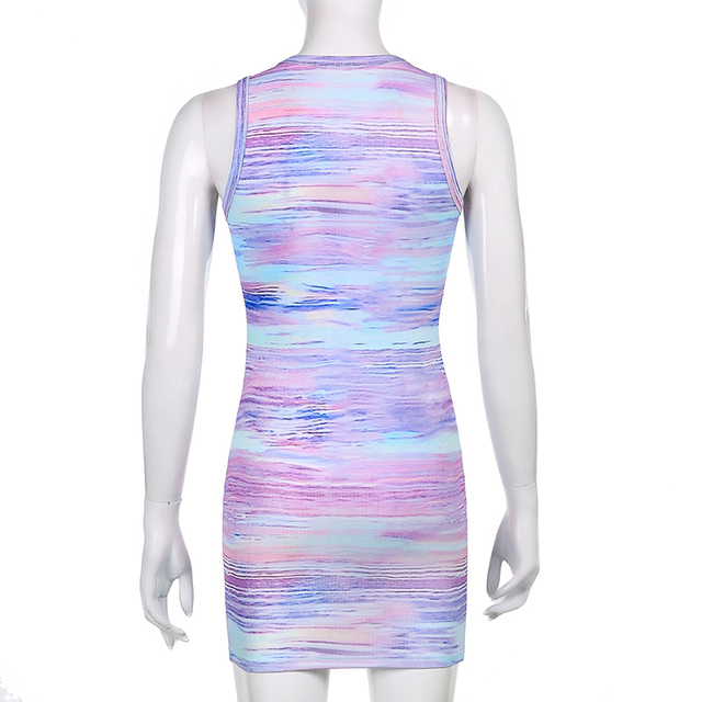 Sweetown Tie Dye Print Knitted Beach Strap Dresses Women Y2K Club Outfits Off Shoulder Slim Sexy Mini Bodycon Dress Summer 6