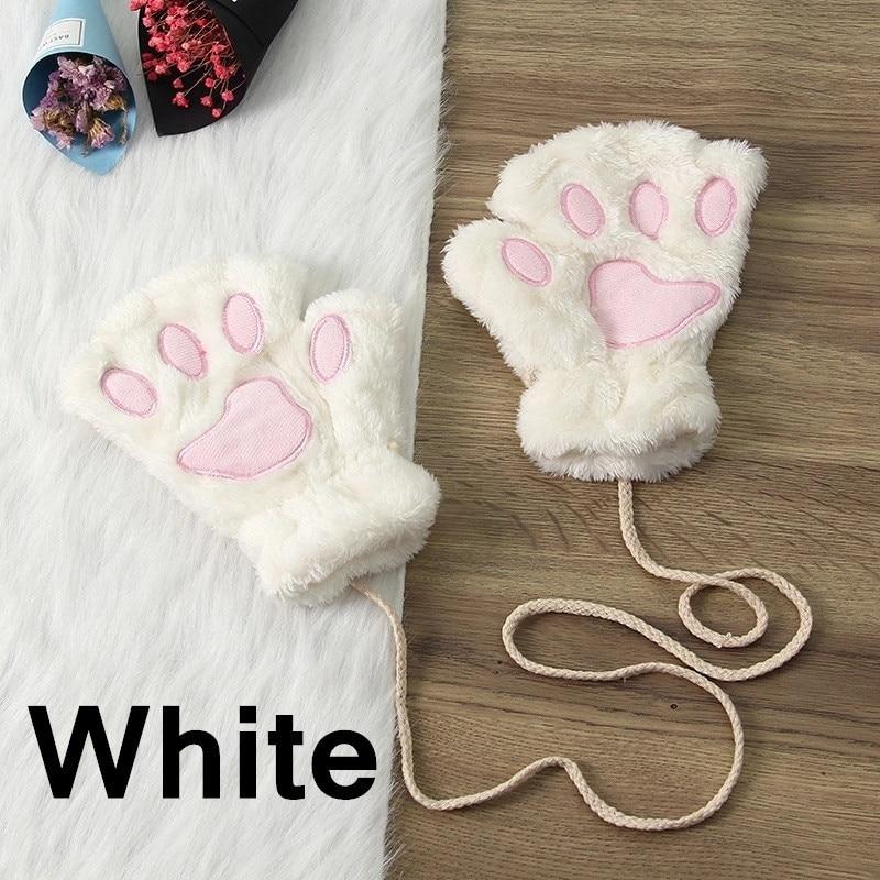 Зимние теплые перчатки женские Красивая кошачья лапа коготь плюшевые варежки короткие перчатки женские зимние перчатки без пальцев - Цвет: 4