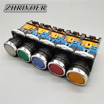 цена на 22mm LA38-11D/LA38-11DS with Light Flat Head Button Switch Momentary/Latching Push button switch 10A/440V  AC/DC 6-380V