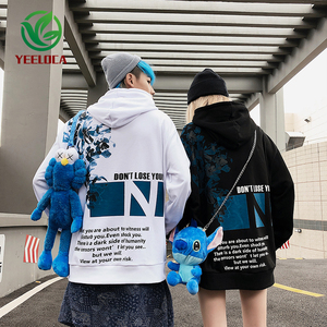 Image 1 - 2019 Dropshipping Herfst Winter Hoodie Mannen Vrouwen Hip Hop Bloemenprint Oversized High Street Band Losse Sweatshirt