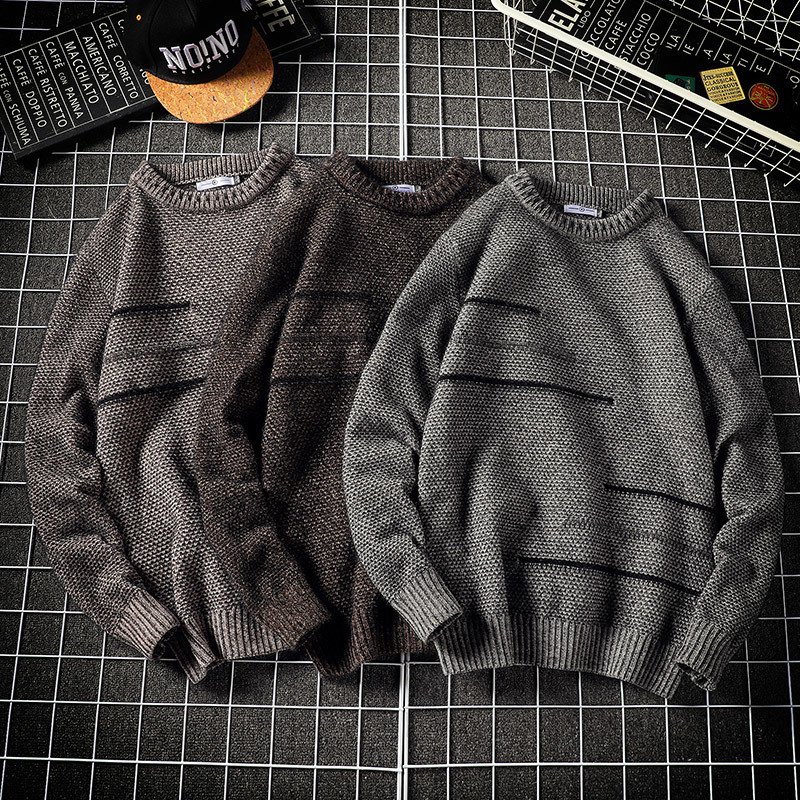 Winter Sweater Men Warm Fashion Solid Color Casual O-neck Sweater Pullover Man Loose Long-sleeved Sweter Large Size M-5XL