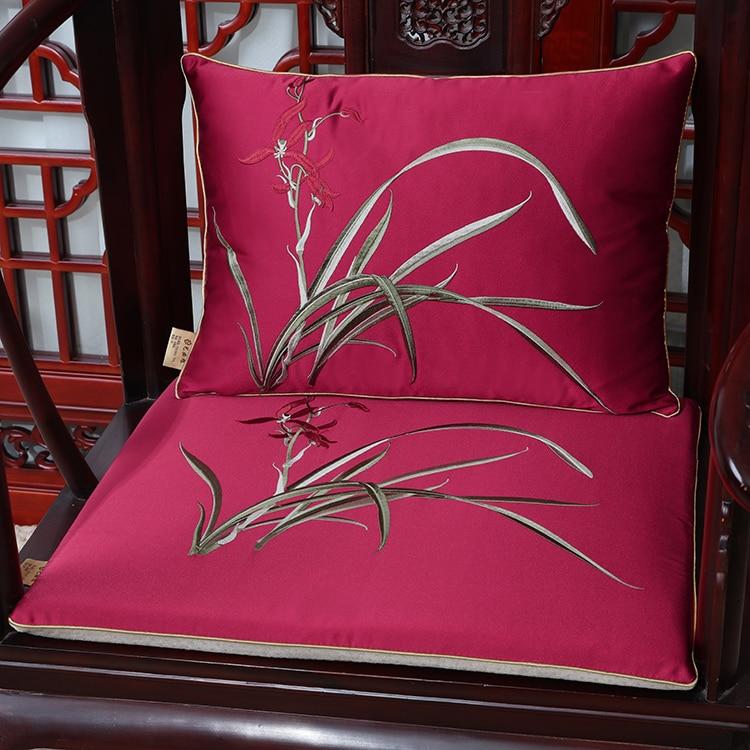 New Jacquard Orchid grass Seat Cushion Sofa Chair Pad Chinese style Silk Cushion Seat Mats Home Decoration Armchair Cushion Seat in Cushion from Home Garden
