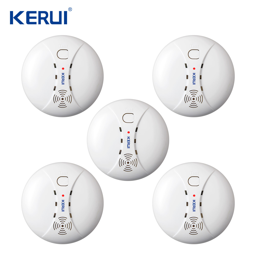 5pcs Kerui Wireless Sensitive Photoelectric Smoke Detector Fire Sensor Smoke Sensor For Home Alarm System