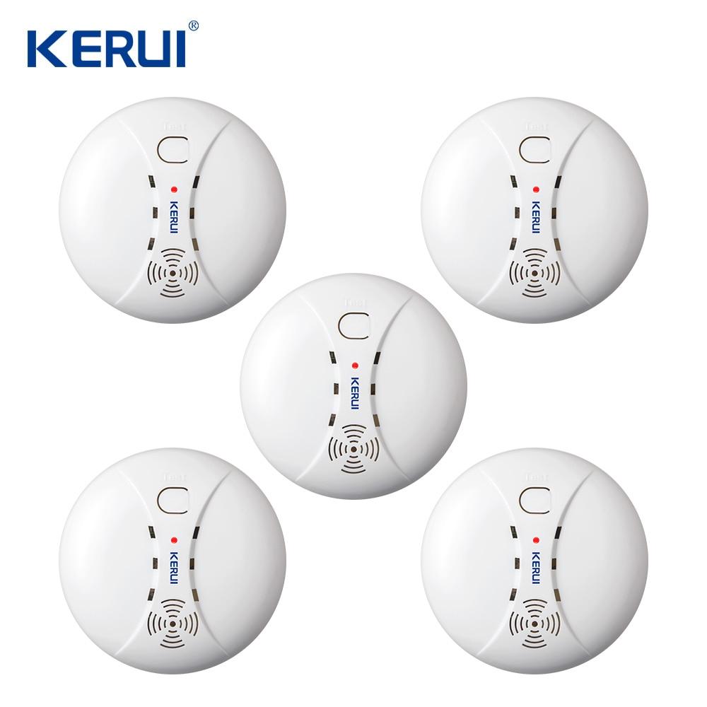 5pcs Kerui Wireless Sensitive Photoelectric Smoke Detector Fire Sensor Smoke Sensor For Home Alarm System