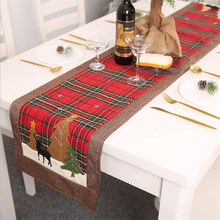 Christmas Plaid Tablecloth  Table Flag Elk Small Tree Mat 180cm Placemat Navidad Cloth