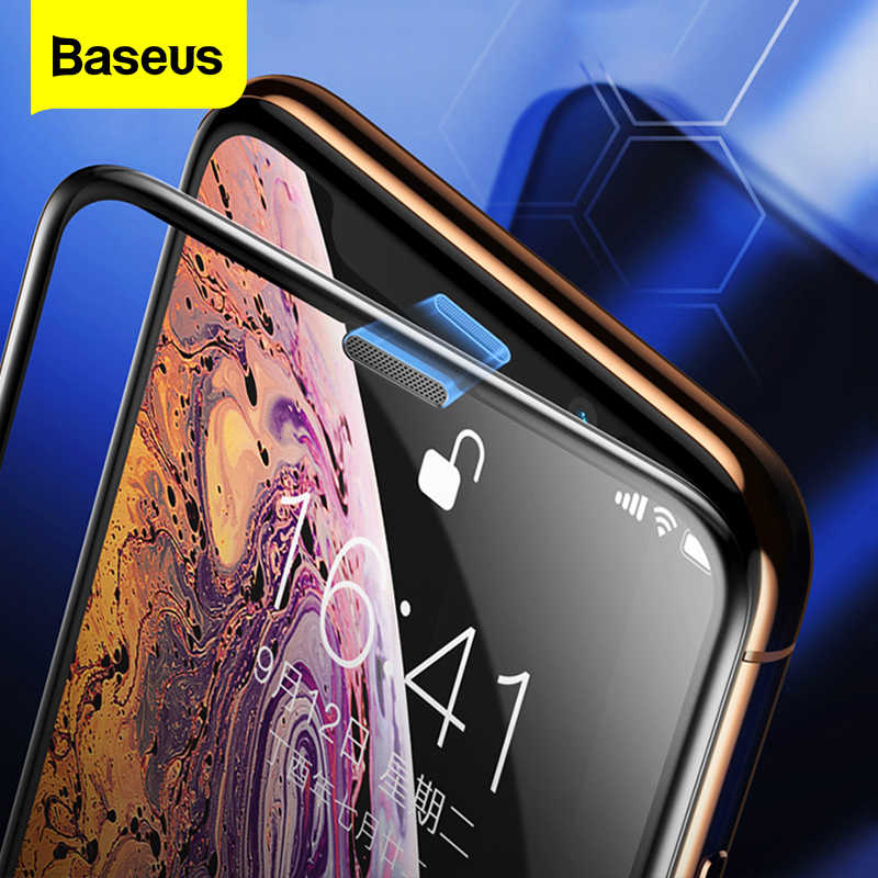 Baseus 0.3mm Dust-proof Screen Protector For iPhone Xs Max Xr X S R Soft Edge Protective Tempered Glass Film For iPhone Xsmax Xs