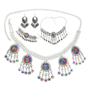 Gypsy Afghan Silver Coins Tassel Necklace Jhumka Earrings Bracelets Waist Belly Dance Chains Sets Boho Turkish Indian Jewelry(China)
