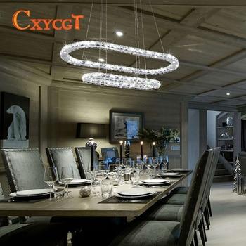 Moderne Woonkamer Decoratie Lamp Dubbele Cirkel Kristallen Kroonluchter Hotel Verlichting Restaurant Licht