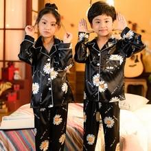 Kids Sleepwear Pyjamas-Sets Winter Boys Autumn Silk for Nightwear Girls Home