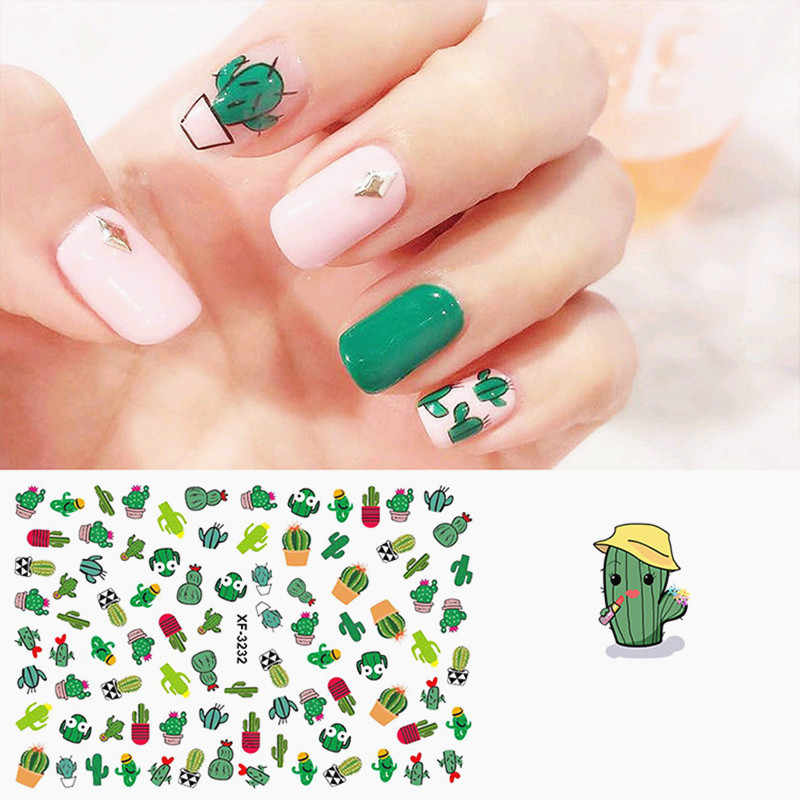 1PC Hot Sale Water Decals Slider Jungle Flamingo Flora Cactus Avocado  Leaf Watermark Nail Sticker Decoration Wraps Manicure