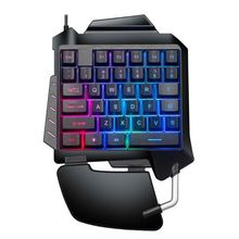 цена на Mechanical One-Hand Gaming Keyboard Portable LED Backlight Mini Gaming Keyboard