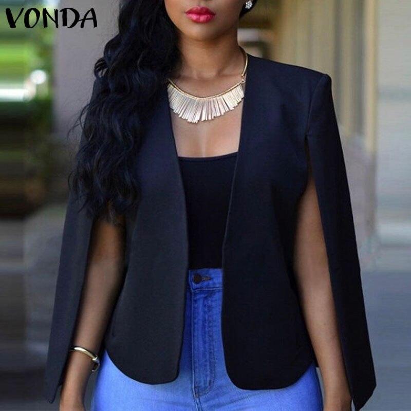 VONDA 2020 Womens Elegant Business Suits Spring Autumn Ladies Blazers Jackets Short Slim Long-sleeve Blazer Women Suits
