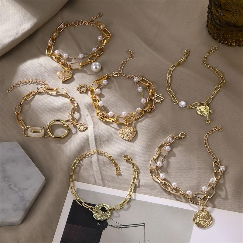 VKME Vintage Pearl Bracelet For Women Korean Female Flower Pearl Bangles Bracelet 2020 Charms Fashion Couple Jewelry