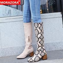 Morazora 2020 新加入スクエアハイヒールの靴女性のニーハイブーツヘビ混合色秋冬パーティーウエディングシューズ女性