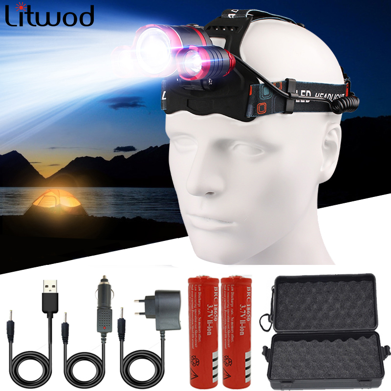 XM-L T6 3 Led Headlamp 4 Modes Headlightlamp Lantern Head Light Lamp Zoomable Rechargeable 18650 Battery Waterproof For Fishing