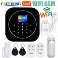 Wifi GSM система домашней сигнализации IOS Android Tuya приложение RFID lcd сенсорная клавиатура 433 МГц беспроводной датчик комплект сигнализации 11 языко...