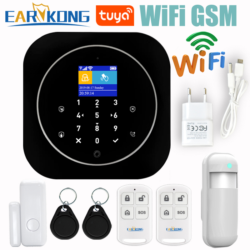 Wifi GSM Home Alarm System IOS Android  Tuya APP RFID LCD Touch Keyboard 433MHz Wireless Sensor Kit Alarm 11 Languages To Switch