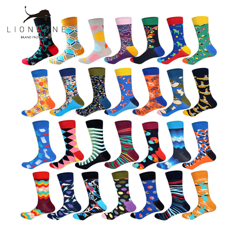 LIONZONE Brand 2018 Autumn Newly Winter Socks Men Fashion Hip Hop 28Colors Colorful Cotton Animal Floral Submarine Happy Socks