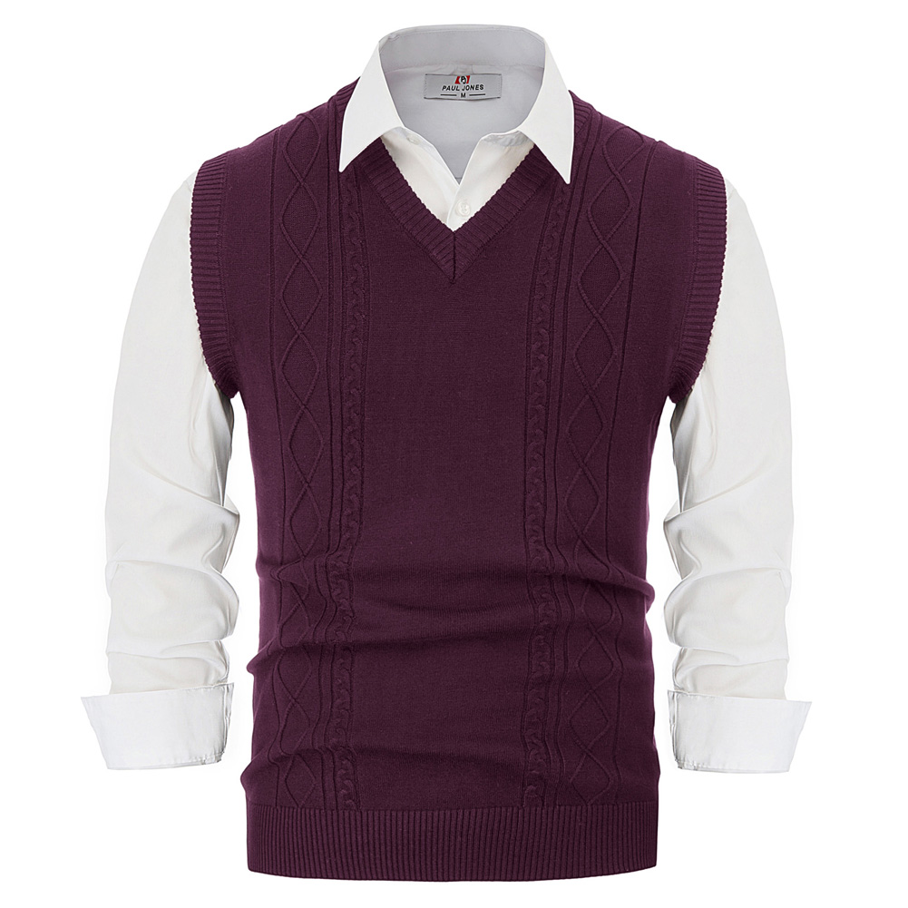 Warm Knit Vest Men Autumn Winter Pure Color Classic Stylish & Slim Fit Sleeveless V-Neck Cable Pattern Knitwear Sweater Vest Top