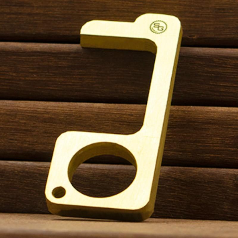 Antibacterial EDC Brass Door Opener Keychain, Anti-contact Protection Isolation Key Safety Door Opener Zinc Alloy Fast Ship