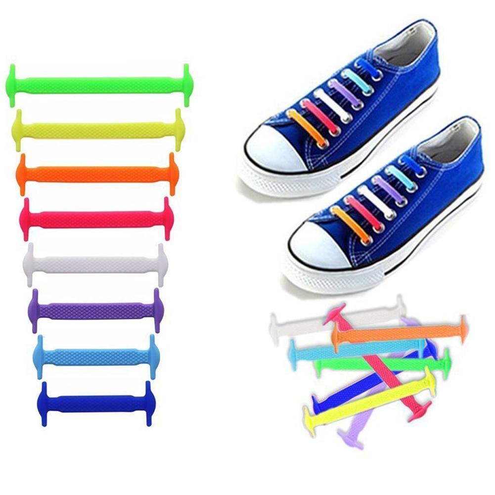 16 Pcs Fashion  Lazy Shoe Laces Unisex Tie Shoelace Silicone Elastic Sneaker Personality Shoestrings Shoes Accessories