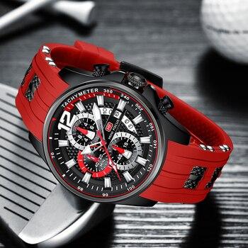 MINI FOCUS Fashion Men's Watches Top Brand Luxury Quartz Waterproof Sports Clock Wristwatch Relogio Masculino Red Silicone Strap 4